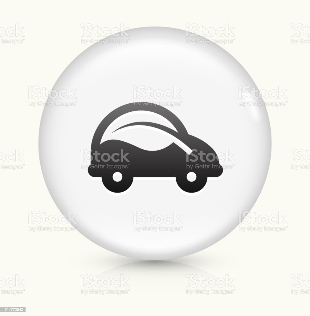 Car and Leaf icon on white round vector button vector art illustration