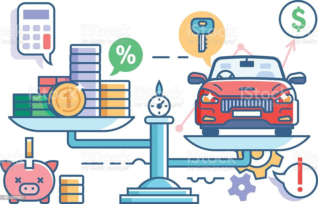 Car and money on scales vector art illustration