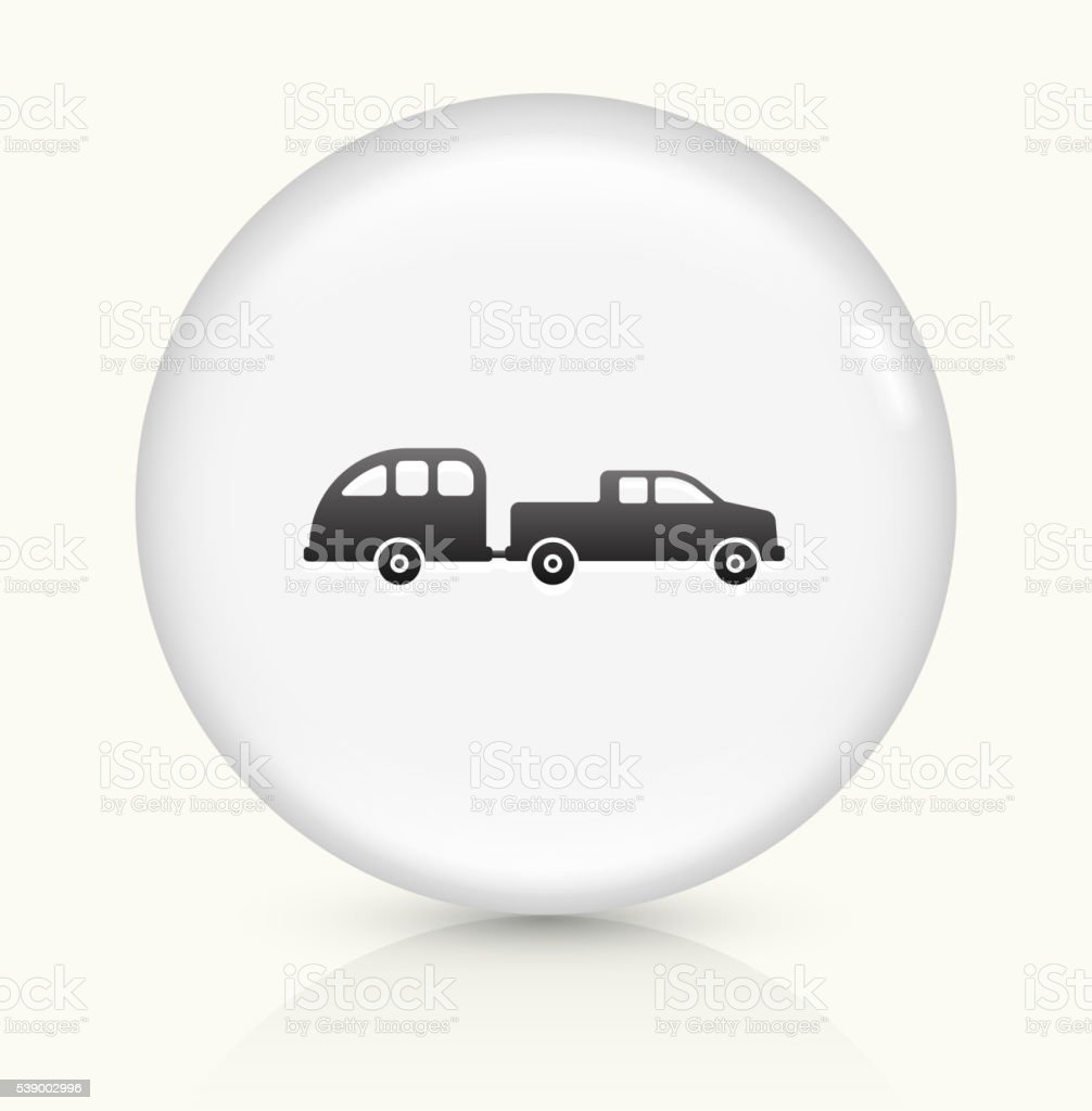 Car and Trailer icon on white round vector button vector art illustration