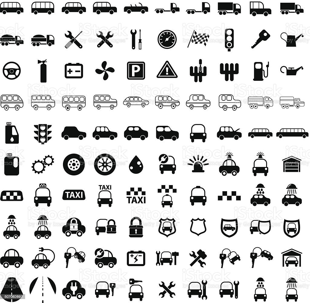 100 car and transport icons. vector art illustration