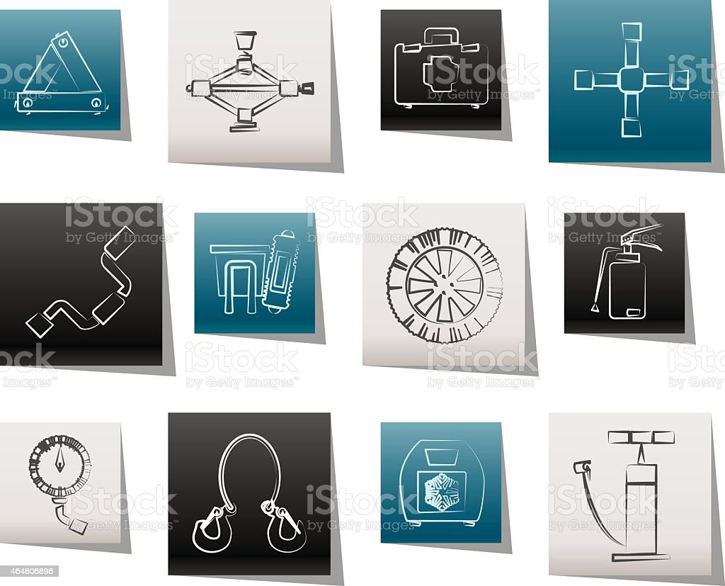 car and transportation equipment icons vector art illustration