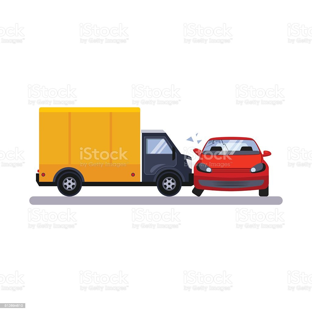 Car and Transportation Issue with a Lorry. Vector Illustration vector art illustration