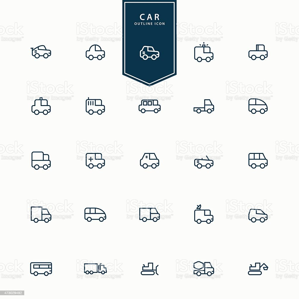25 car and transportation minimal line icons vector art illustration