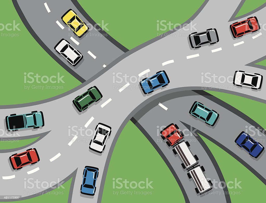 Car and Truck Traffic on Motorway royalty-free stock vector art