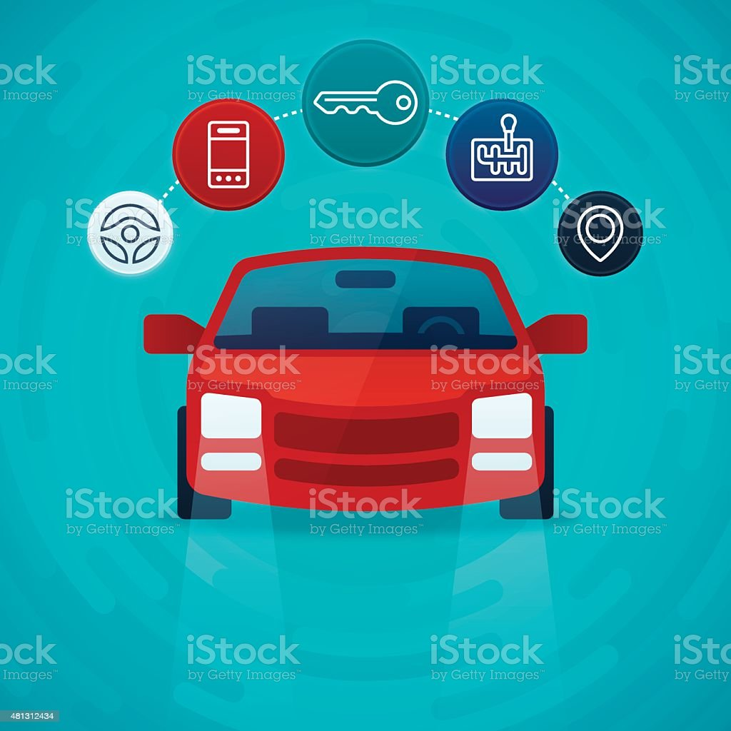 Car and Vehicle Driving Options vector art illustration