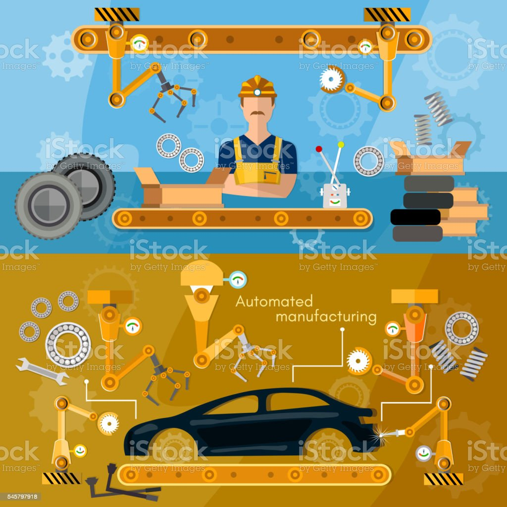 Car assembly line banner conveyor belt operator vector art illustration