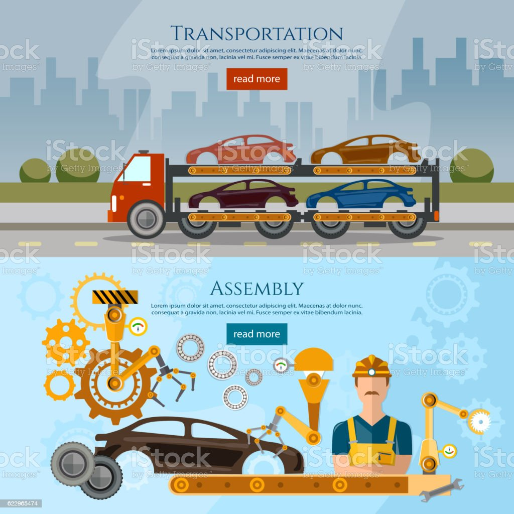 Car assembly line process banner, car transport truck vector art illustration