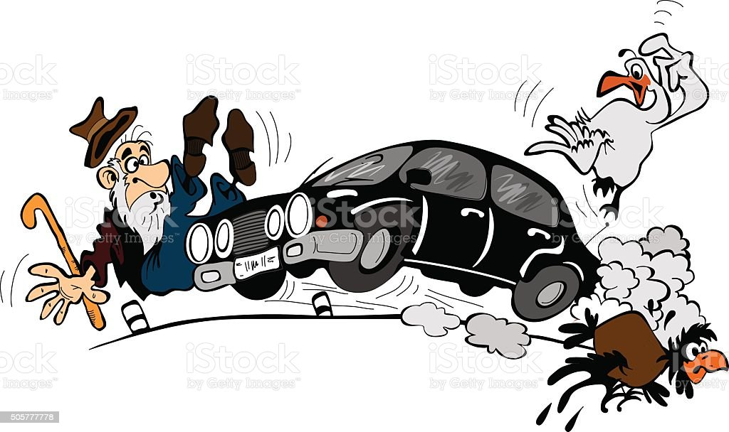 Car at high speed and an elderly man vector art illustration