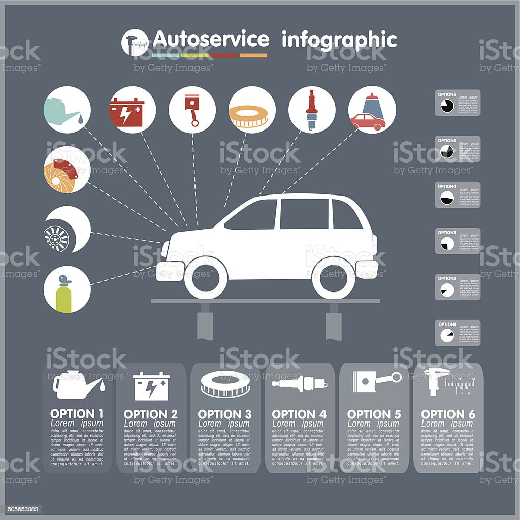Car auto service infographics design elements with mechanical parts icons vector art illustration
