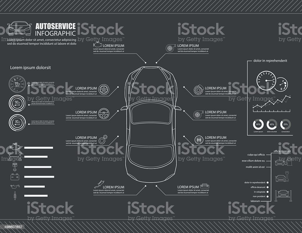 Car auto service infographics design.vector vector art illustration