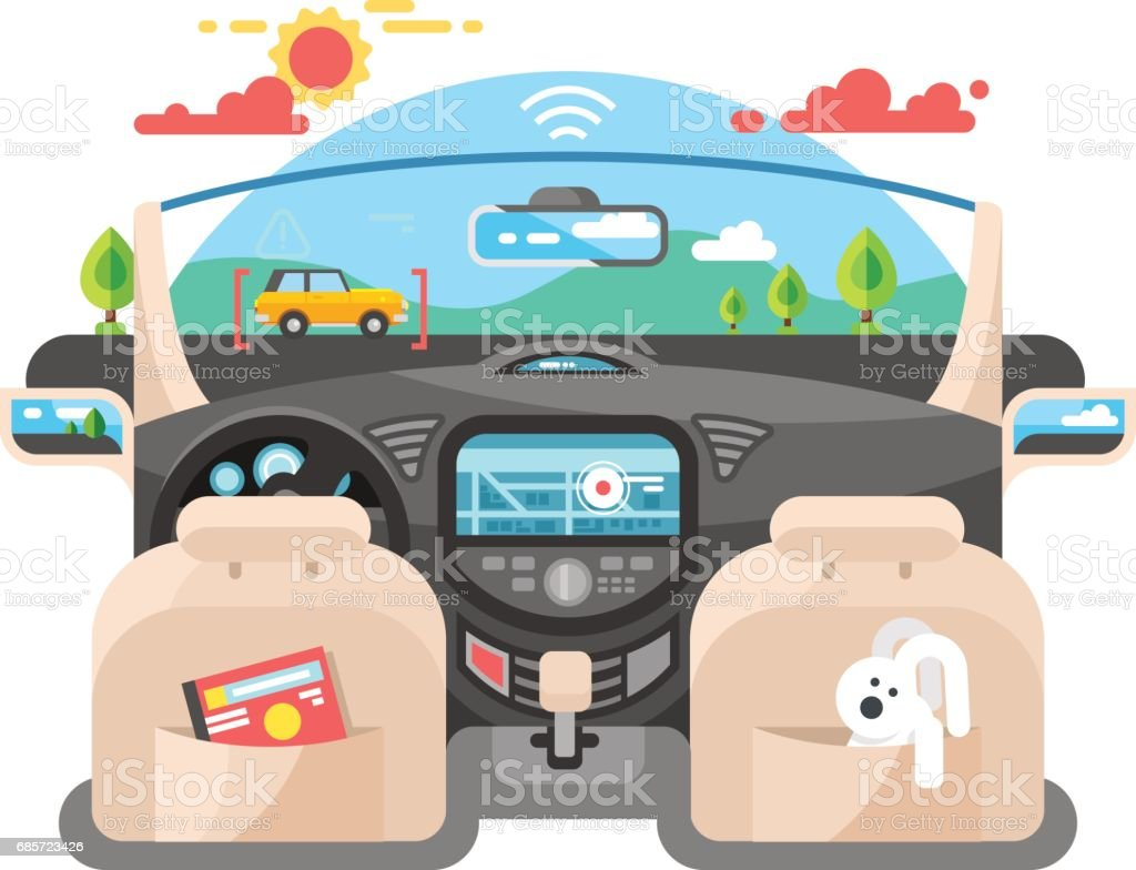 Car autopilot computer system vector art illustration