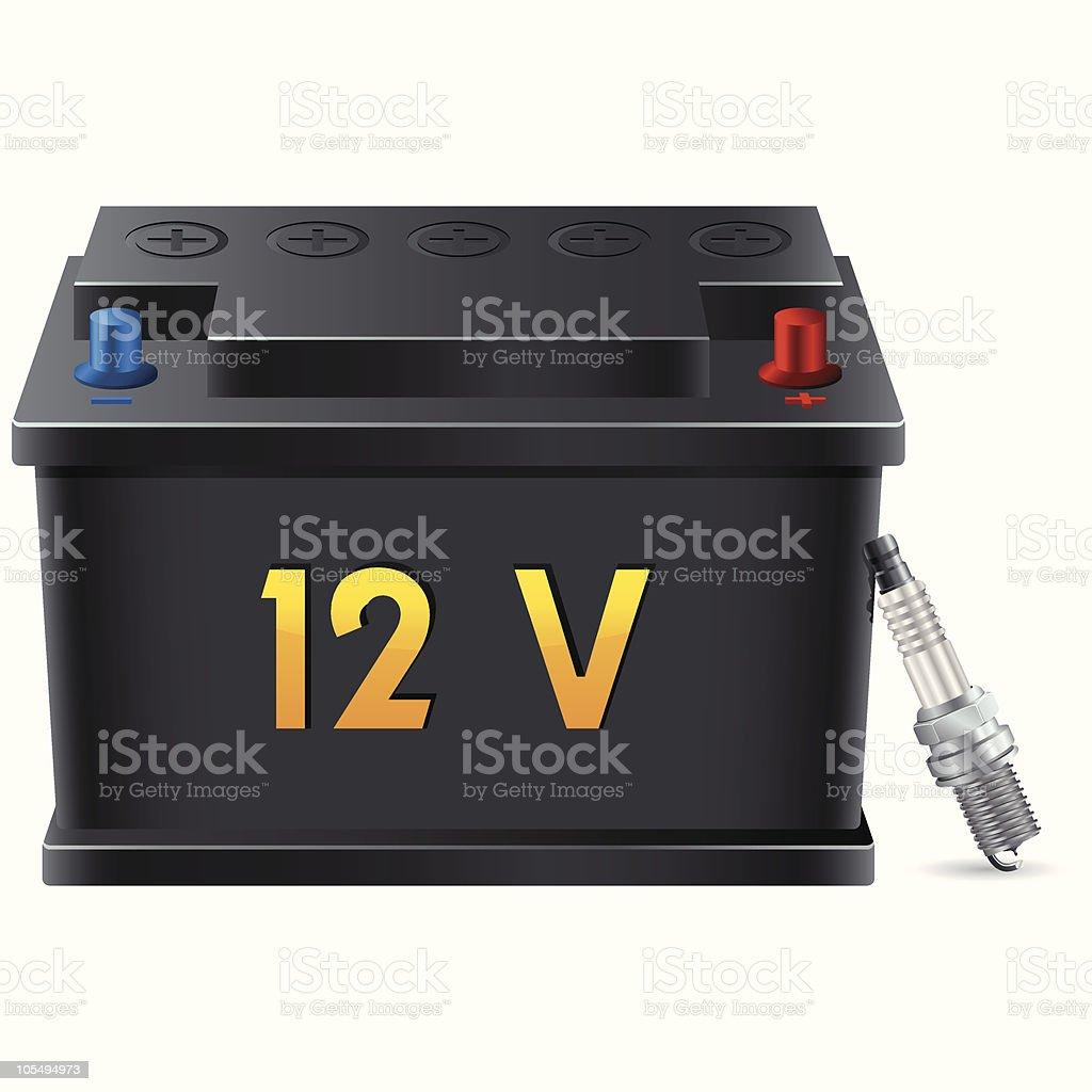 car battery and spark plug royalty-free stock vector art