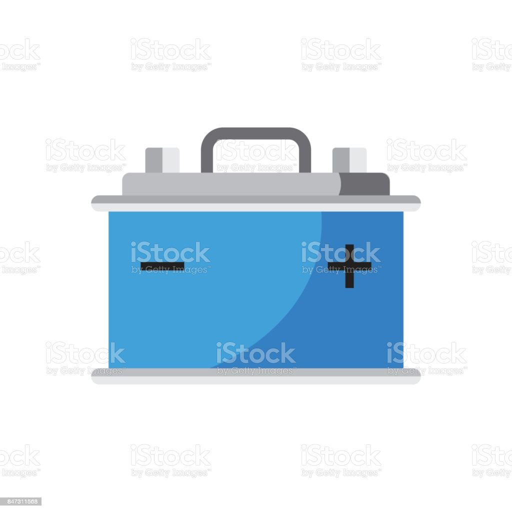 Car battery flat vector icon isolated on white background. Auto accumulator battery energy power illustration. vector art illustration