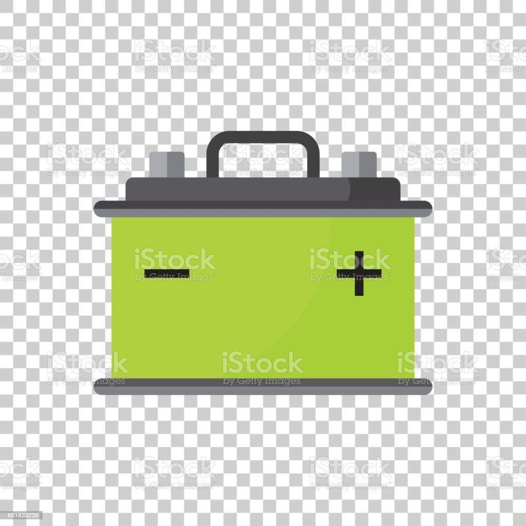 Car battery flat vector icon on isolated background. Auto accumulator battery energy power illustration. vector art illustration