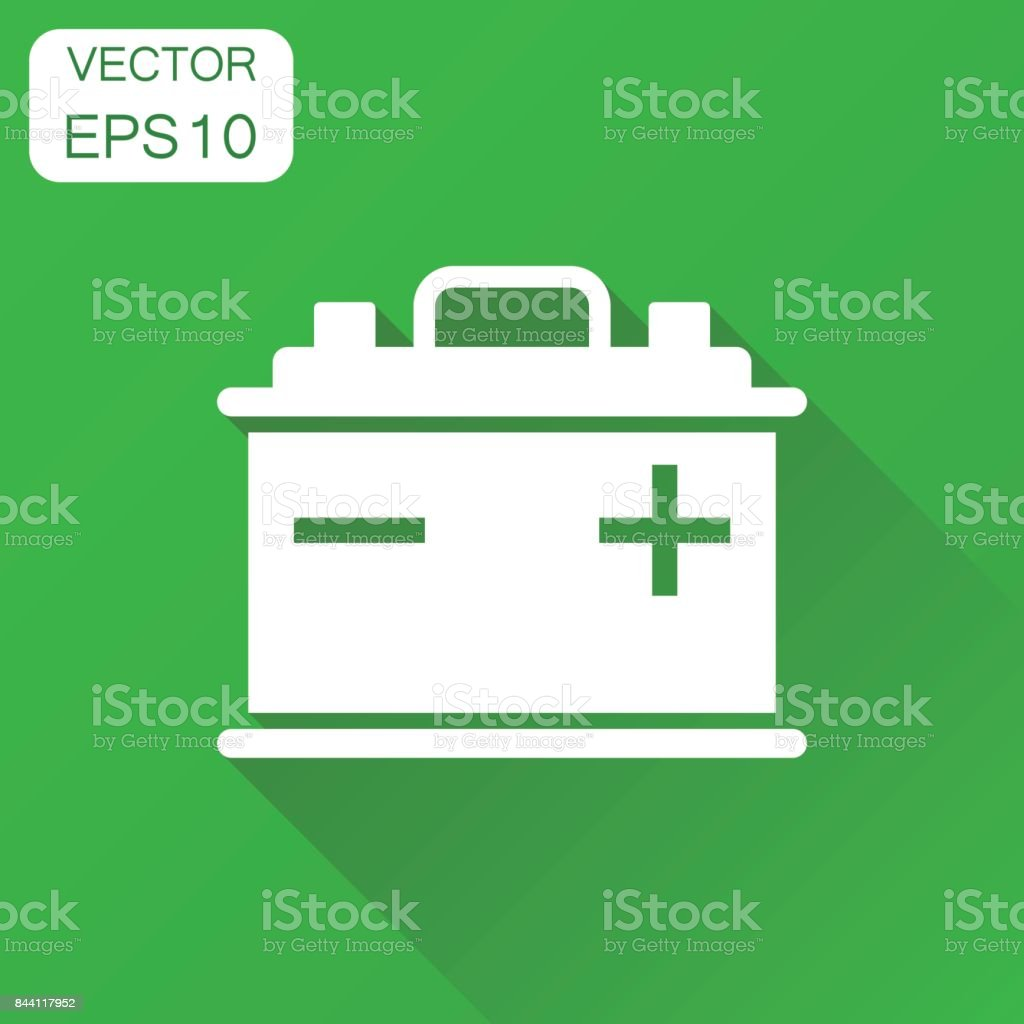 Car battery icon. Business concept auto accumulator battery pictogram. Vector illustration on green background with long shadow. vector art illustration