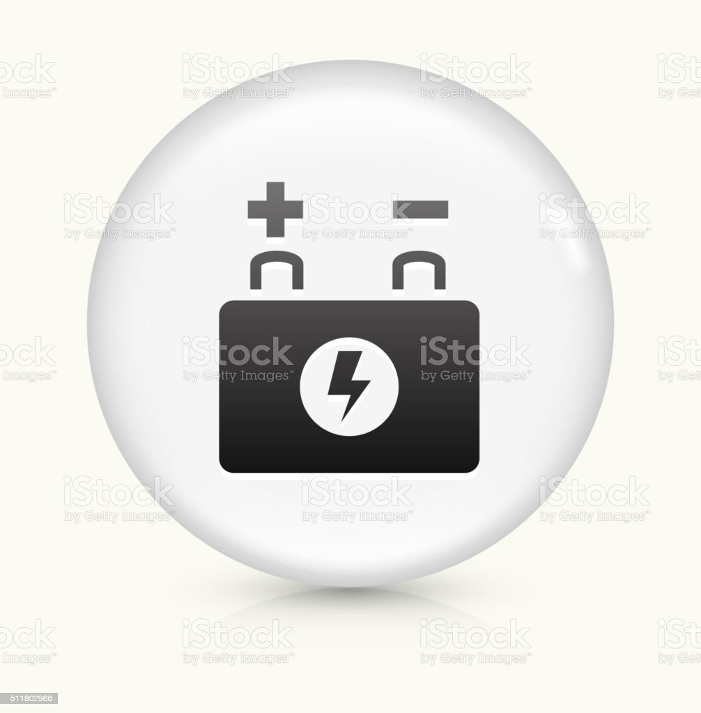 Car Battery icon on white round vector button vector art illustration