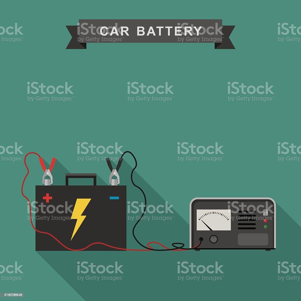 Car battery illustration. vector art illustration