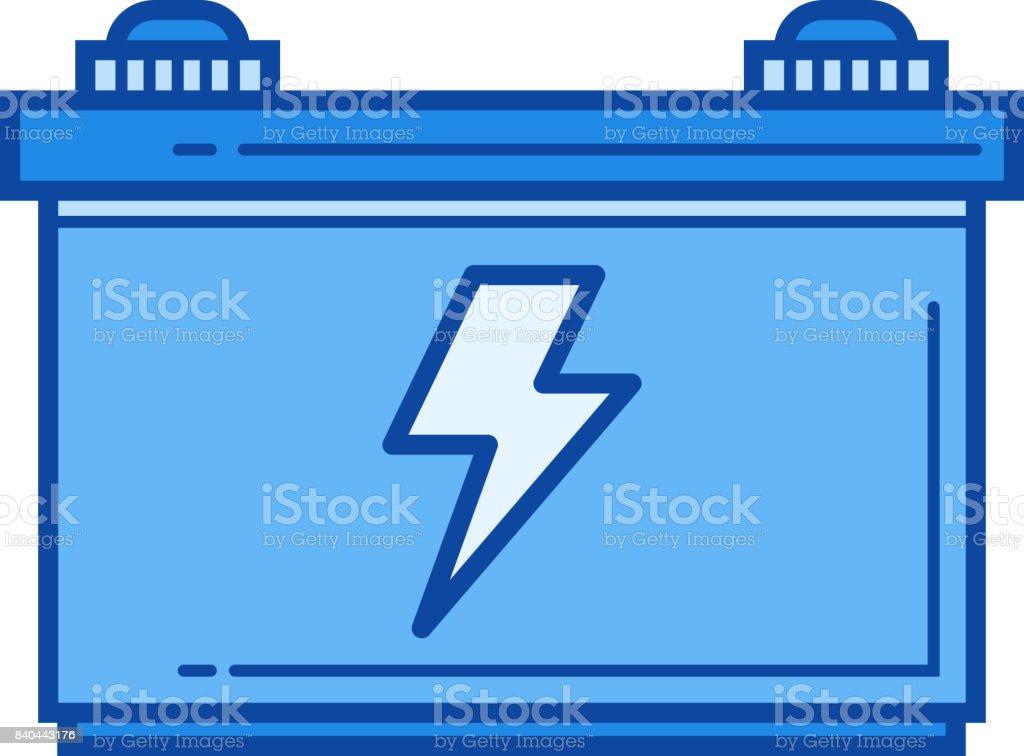 Car battery line icon vector art illustration