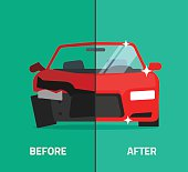 Car before after, crashed, broken and repaired auto maintenance service