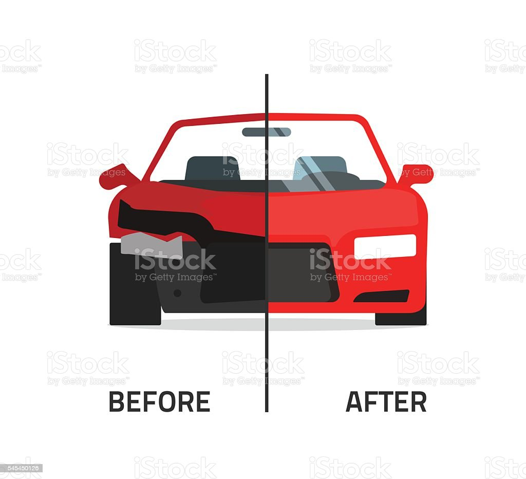 Car body frame repair service vector, crushed and repaired auto vector art illustration