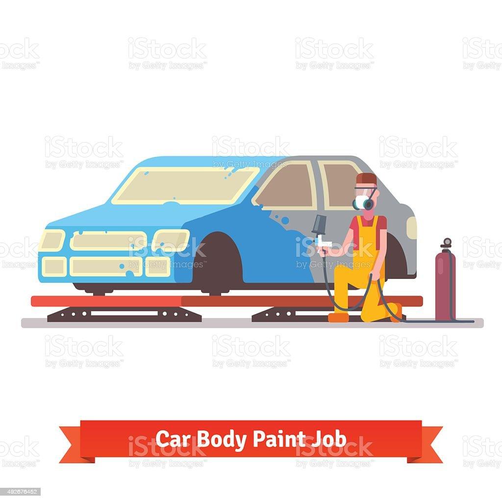 Car body paint job vector art illustration