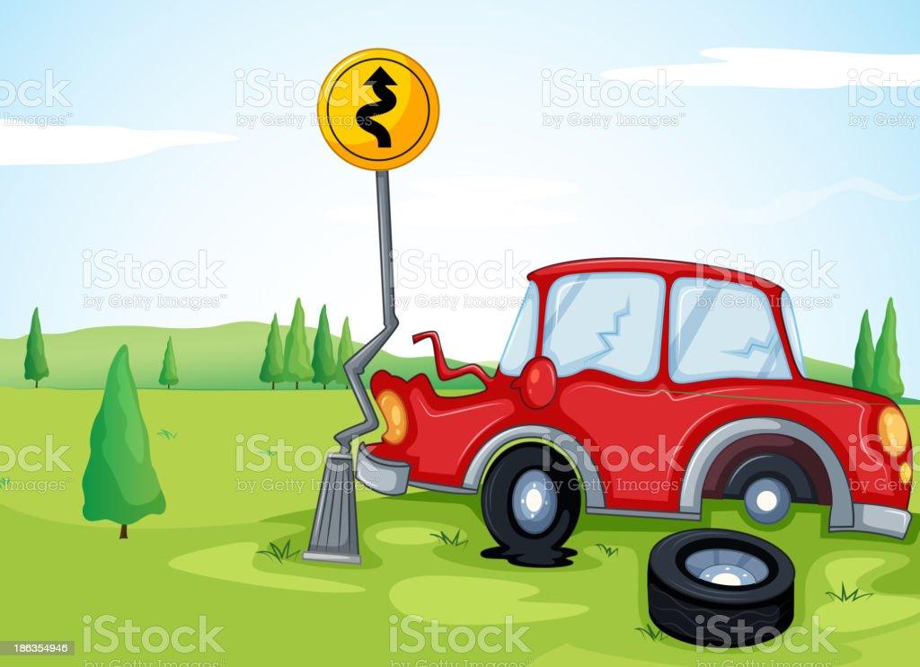 car bumping the road sign royalty-free stock vector art