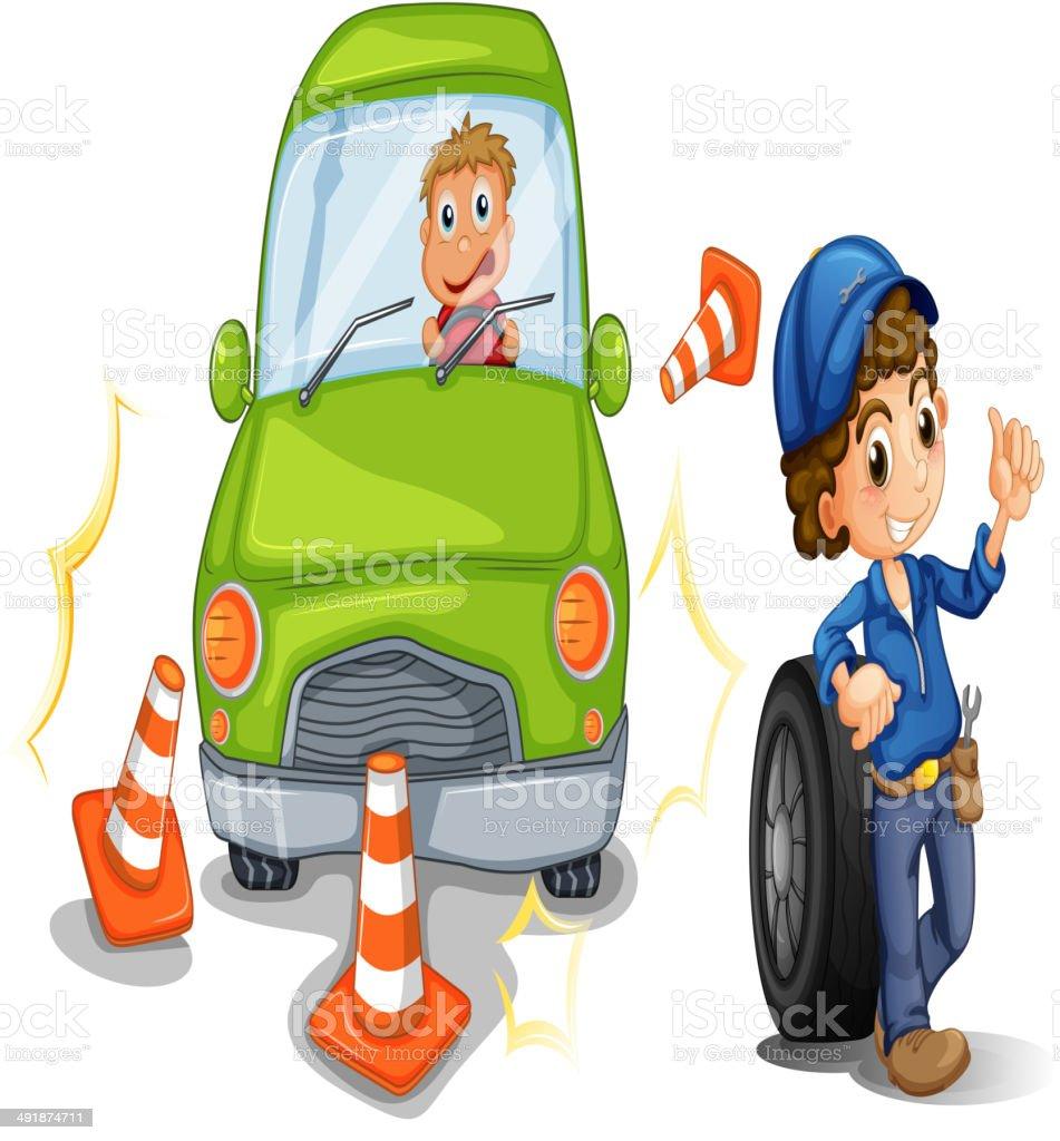 car bumping the traffic cones vector art illustration
