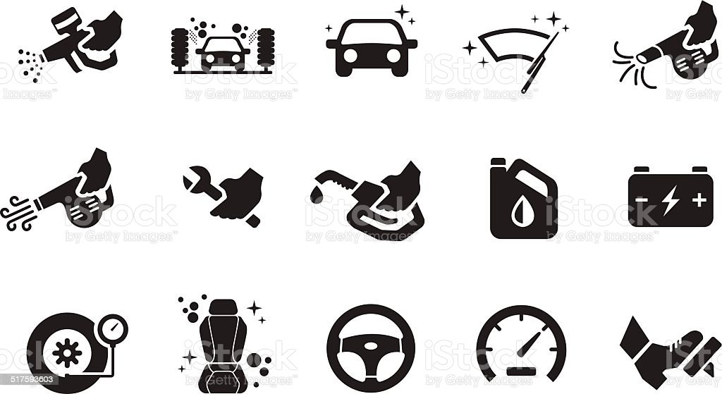Car care icons - Illustration vector art illustration