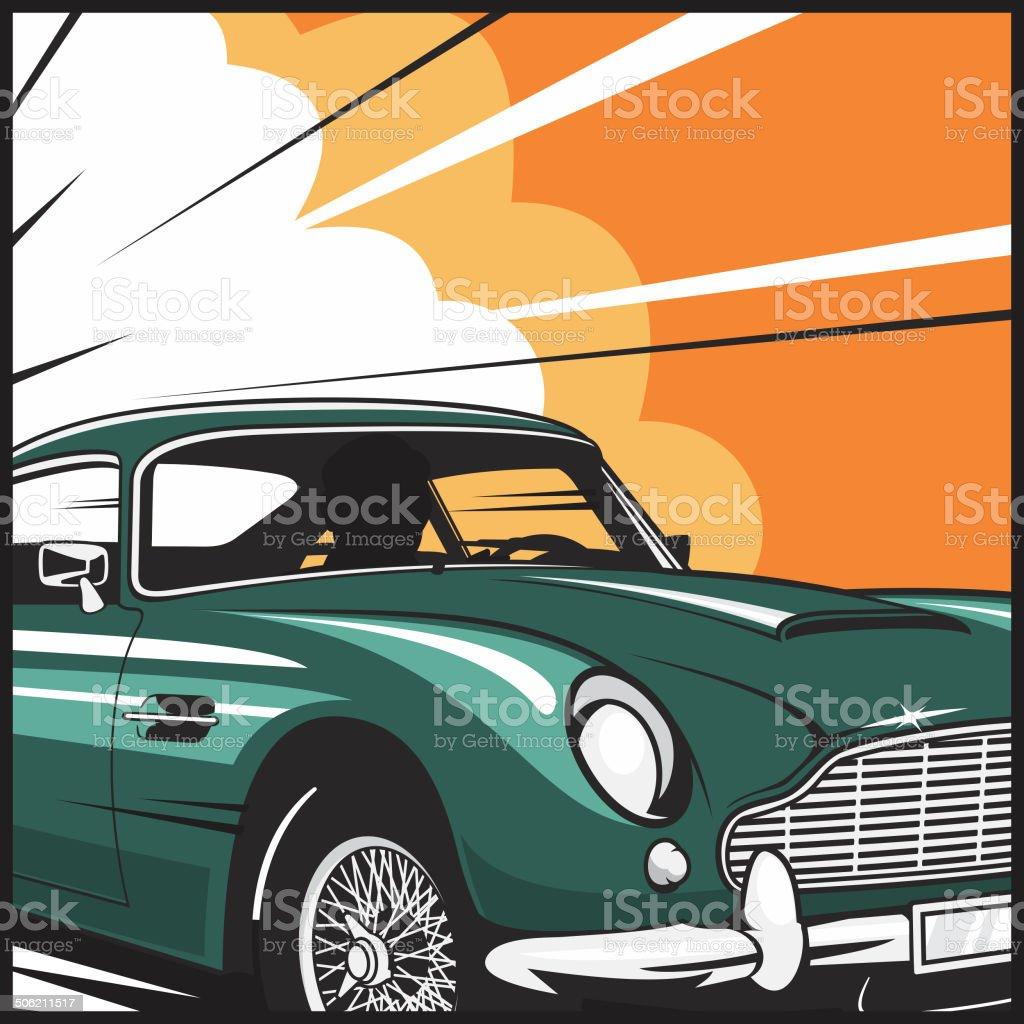 Car Chase vector art illustration