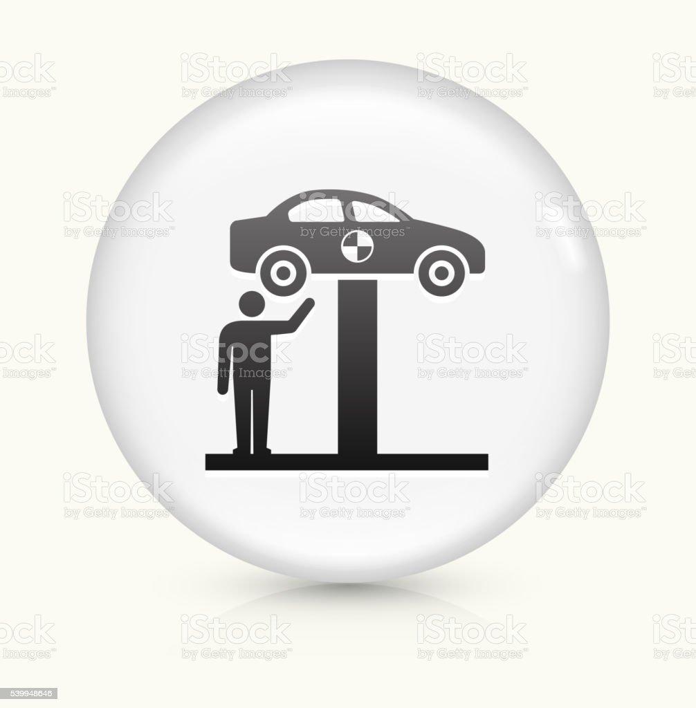 Car Check icon on white round vector button vector art illustration