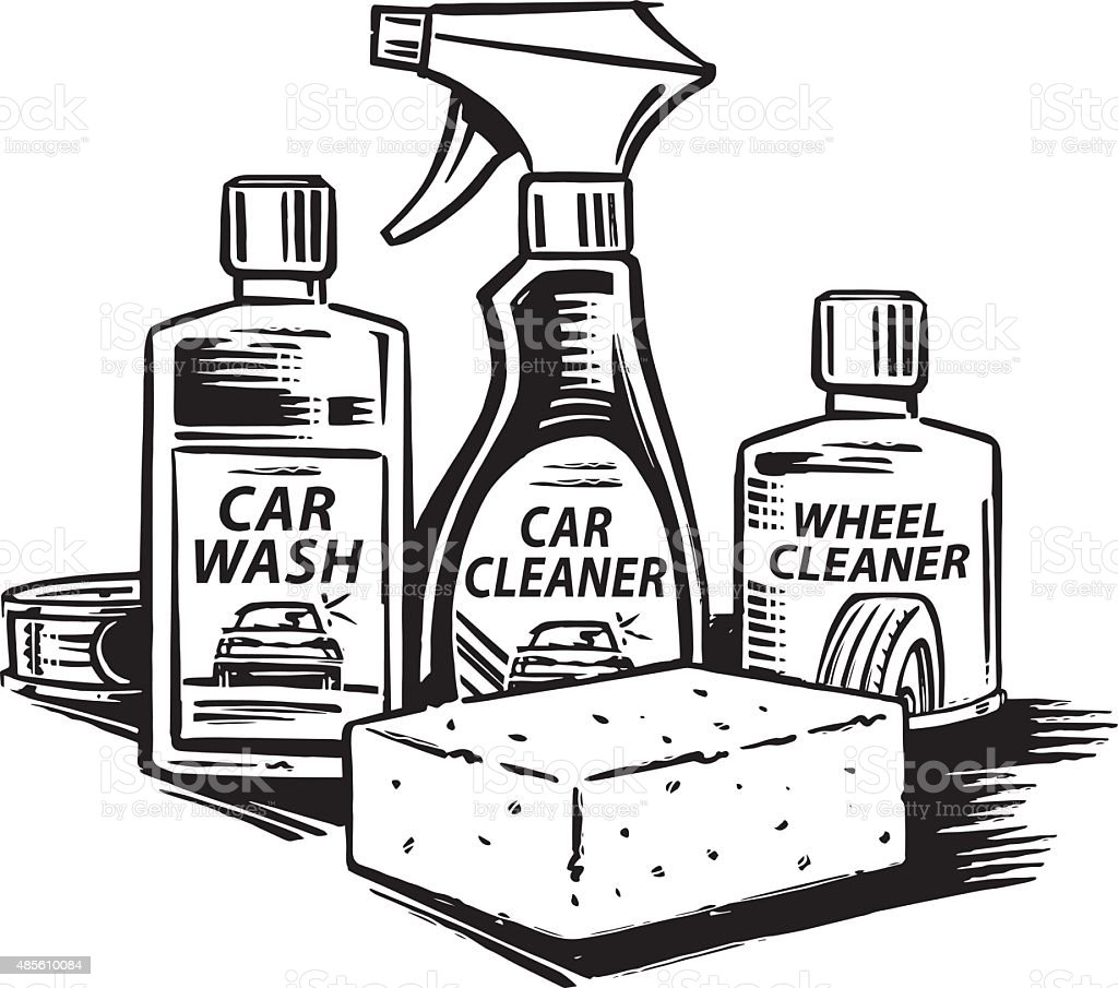 Car cleaning set vector art illustration