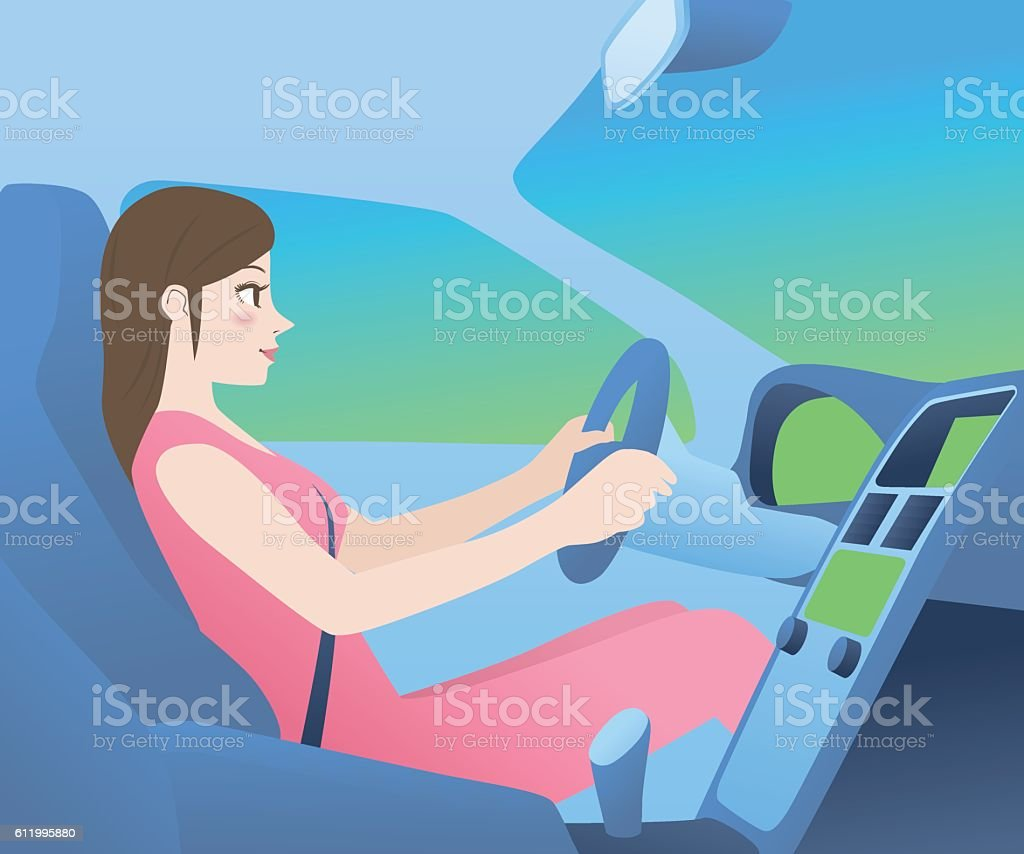 car cockpit and a woman driver, side view, vector illustration vector art illustration
