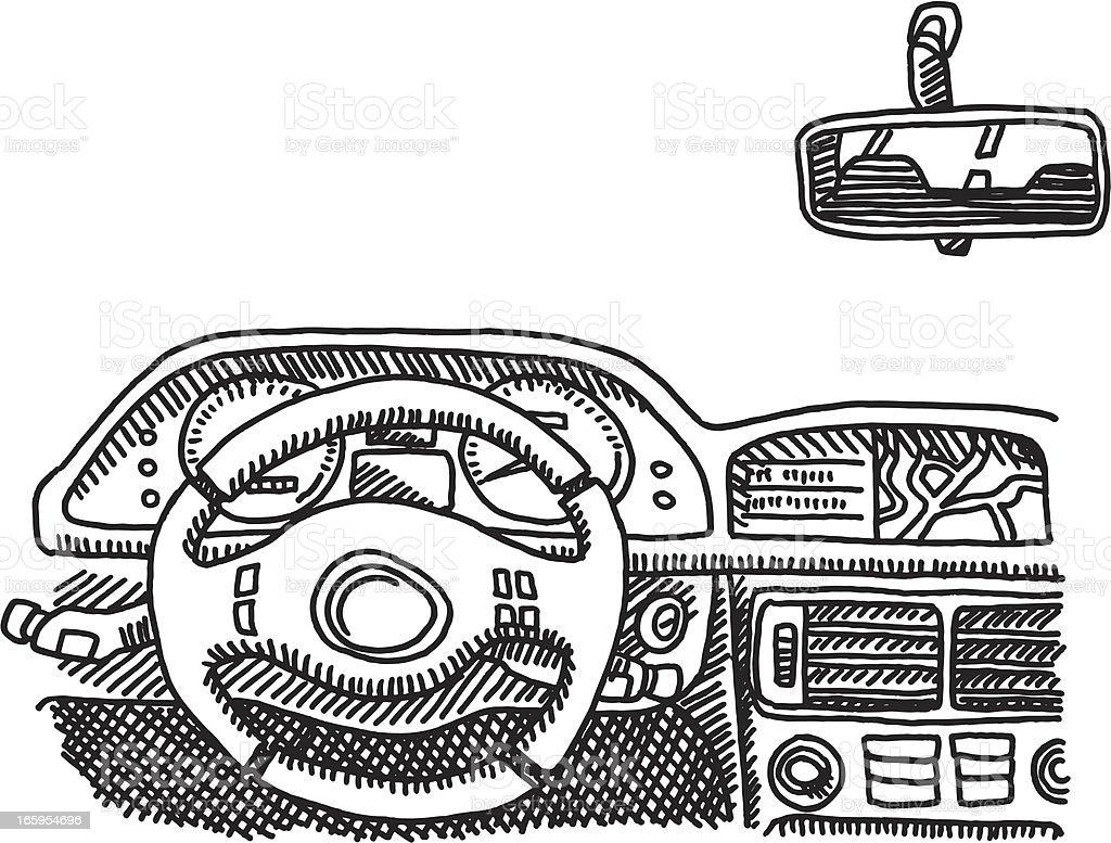 Car Cockpit Drawing vector art illustration