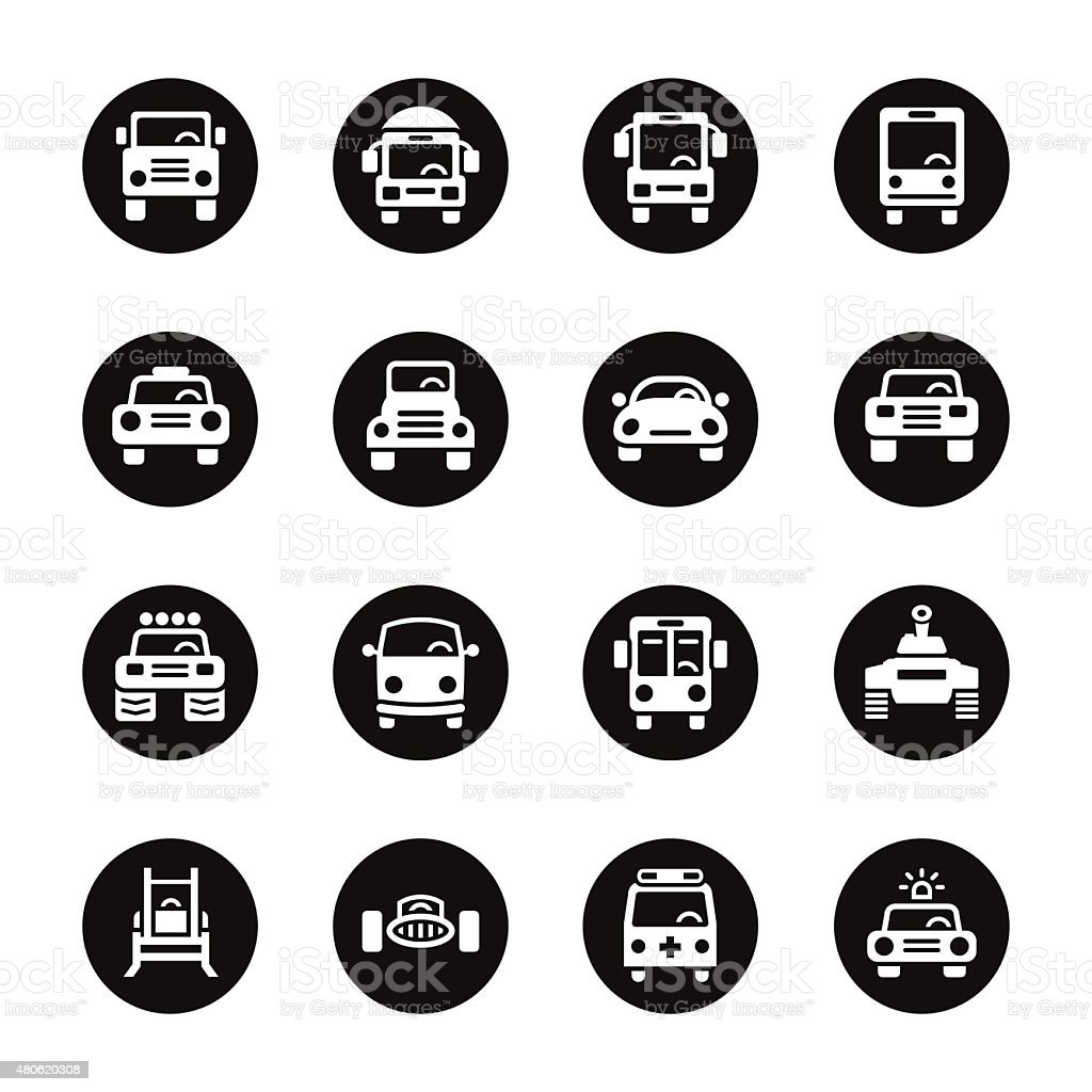 Car Collection Icons - Black Circle Series vector art illustration