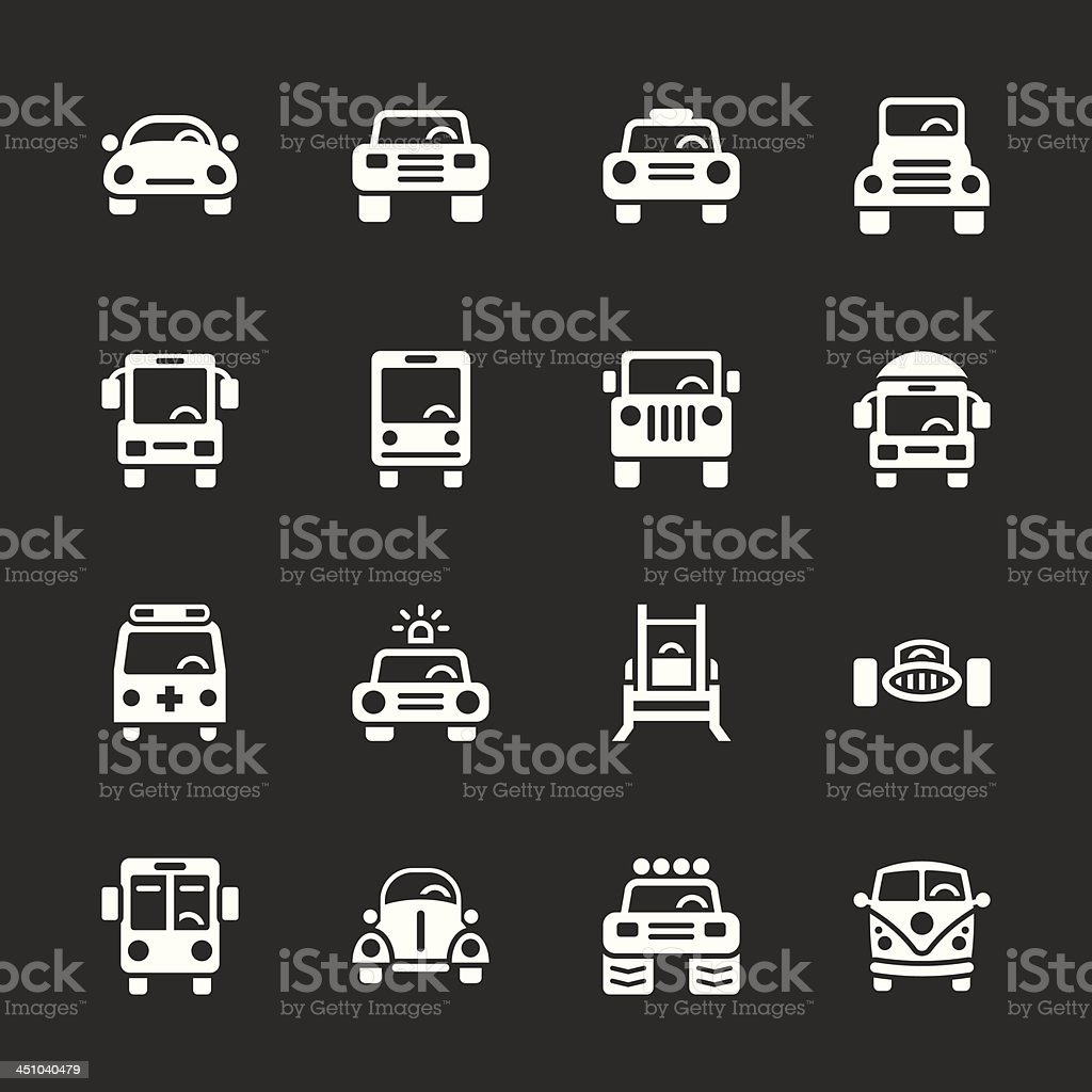 Car Collection Icons - White Series | EPS10 vector art illustration