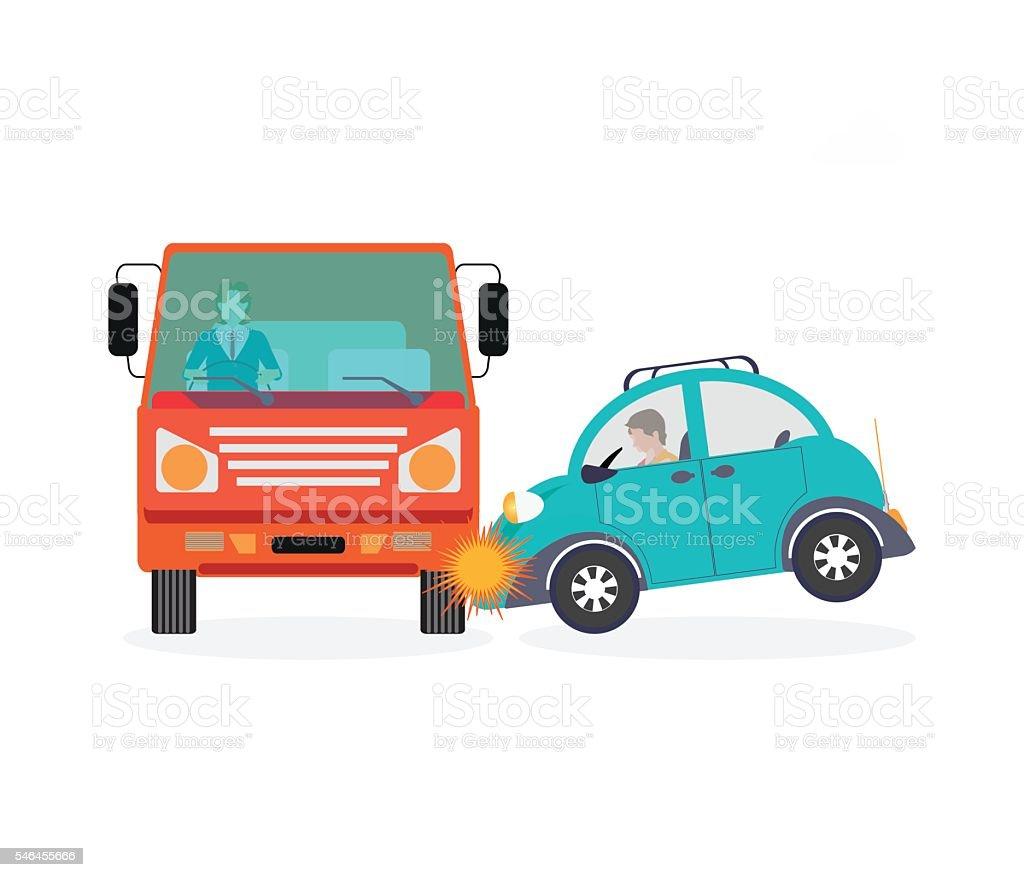 Car crash accident car. vector art illustration
