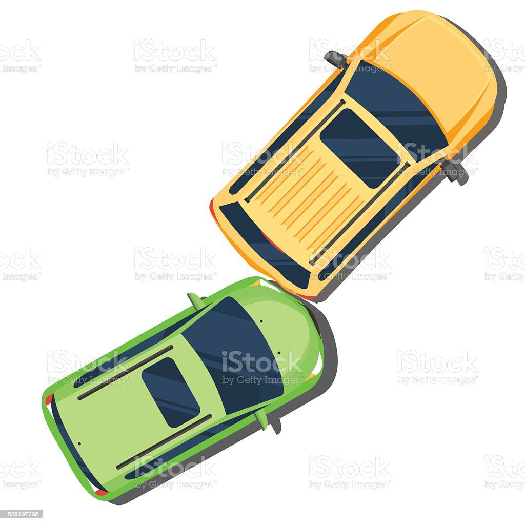 Car crash. Accident in the back of the cars vector art illustration