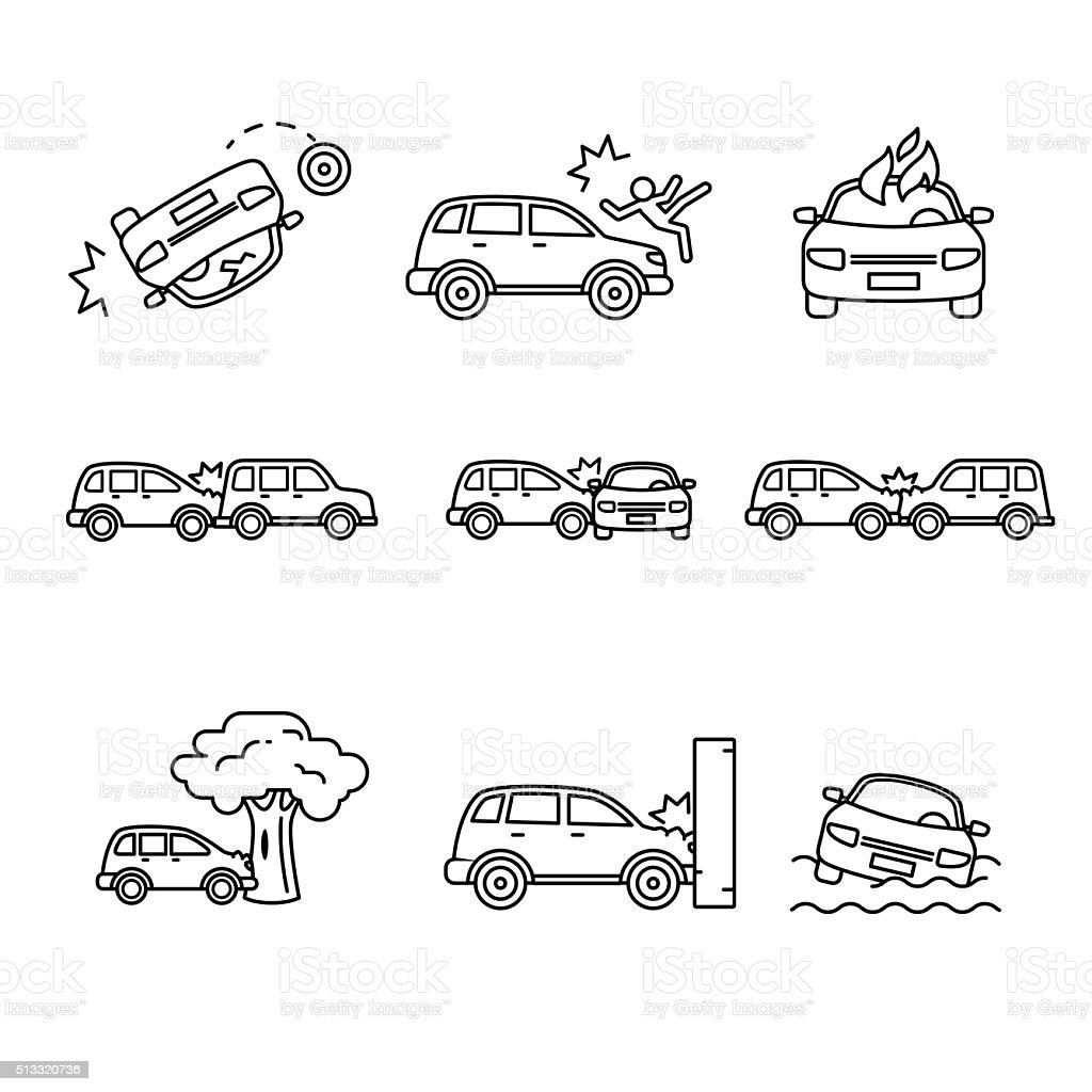 Car crash and accidents. Thin line art icons set vector art illustration