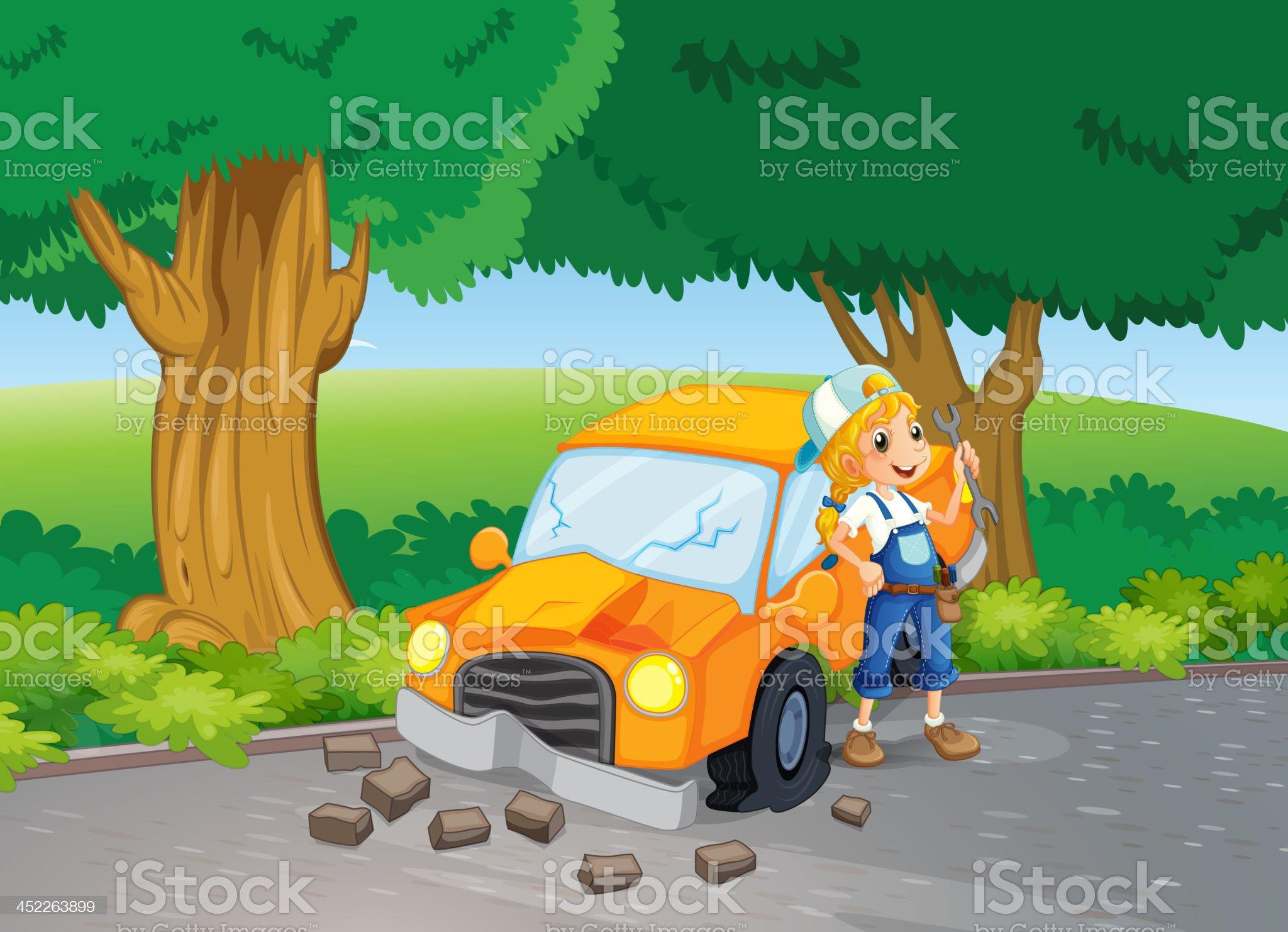 car crash at the road near  big trees royalty-free stock vector art