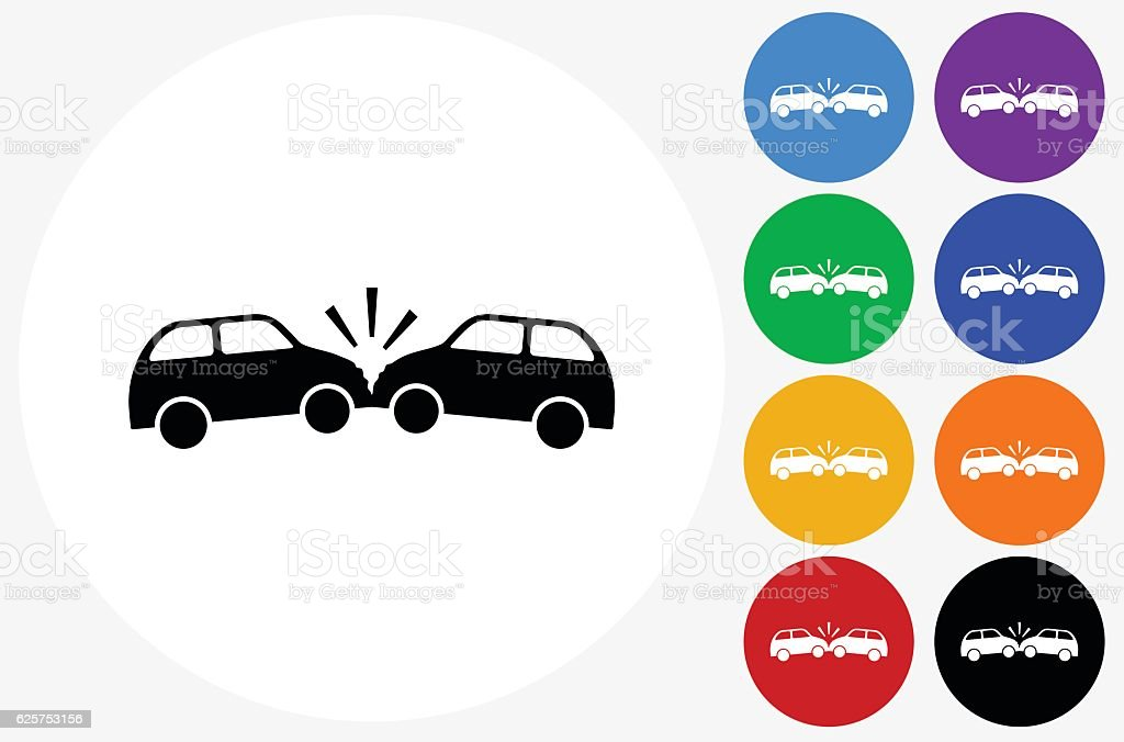 Car Crash Icon on Flat Color Circle Buttons vector art illustration