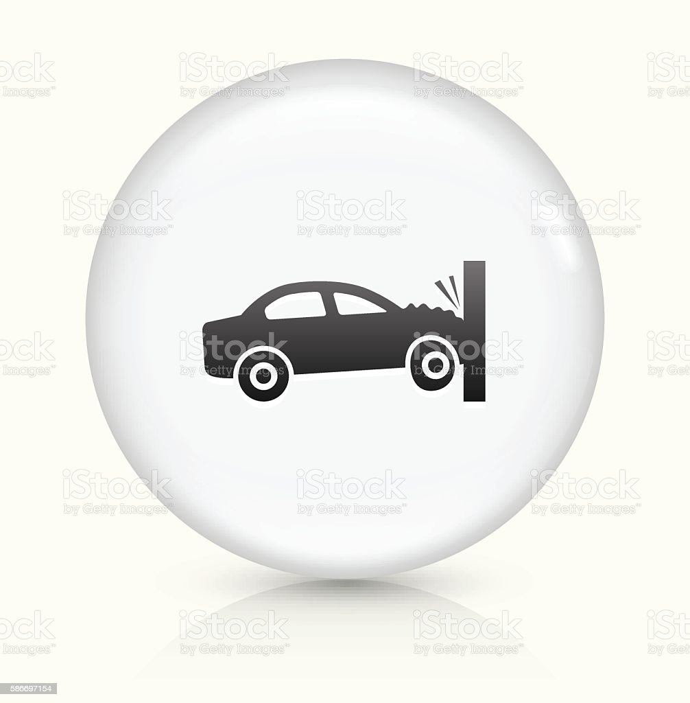 Car Crash icon on white round vector button vector art illustration