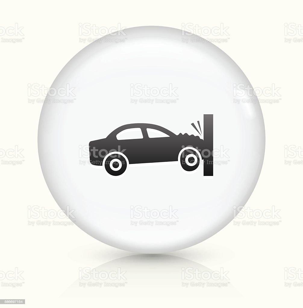 Car Crash icon on white round vector button vector art illustration