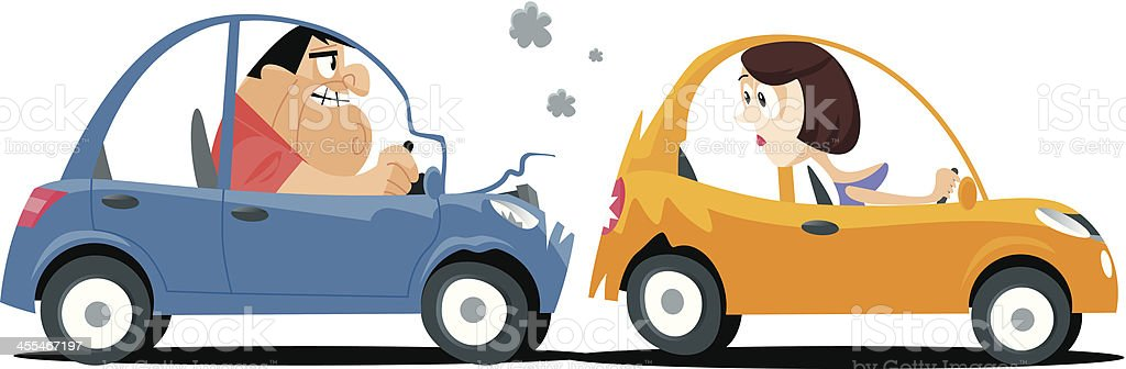 Car crash vector art illustration