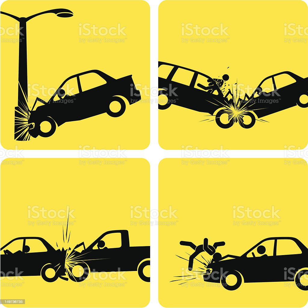Car Crashes vector art illustration