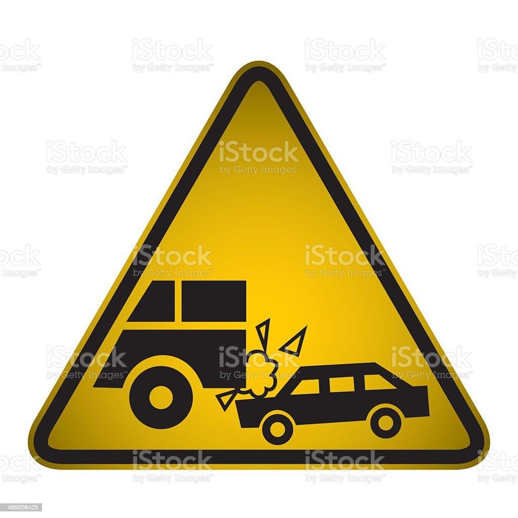 Car Crashes Warning Sign- Vector royalty-free stock vector art