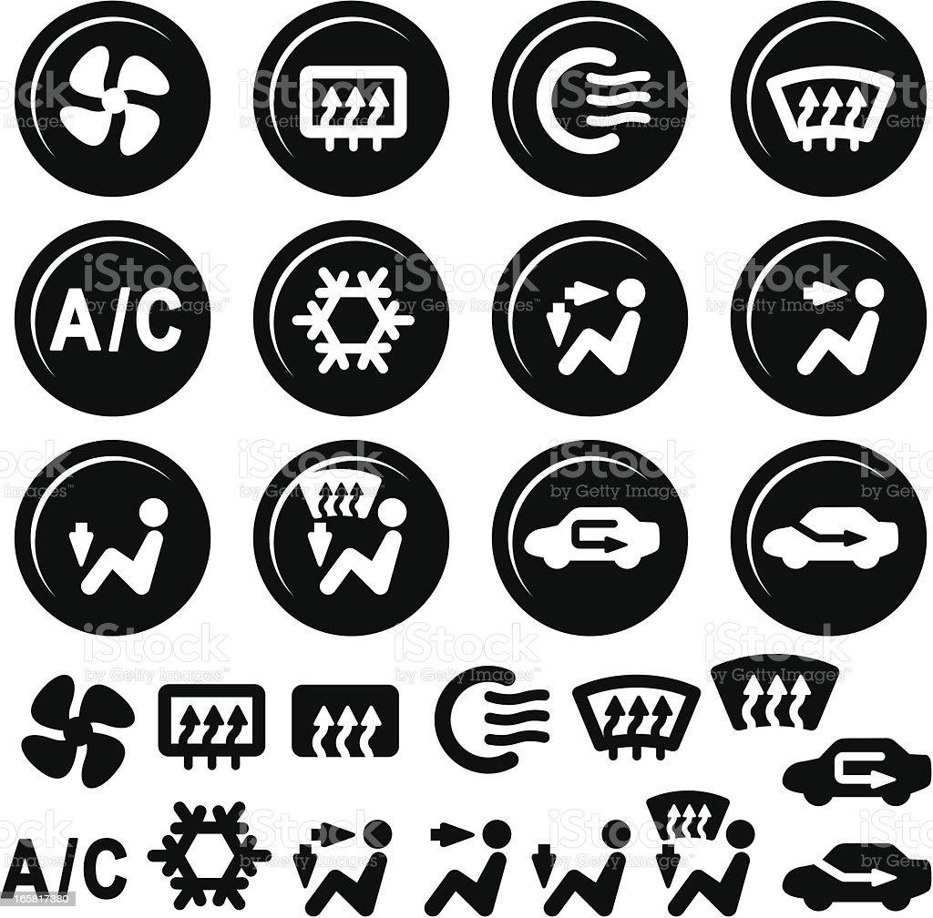 Auto Armaturenbrett Symbole Klimaanlage Und Lüftung Vektor ... | {Armaturenbrett symbole 70}