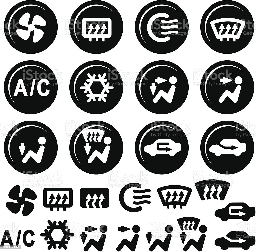 Car Dashboard Icons, Air Conditioning and Vent vector art illustration