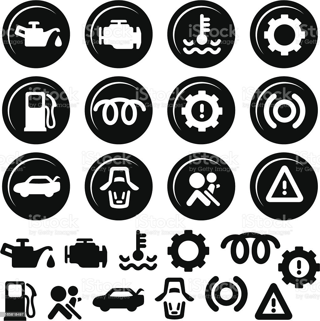 Car Dashboard Icons, Fuel, Engine, Doors and more vector art illustration