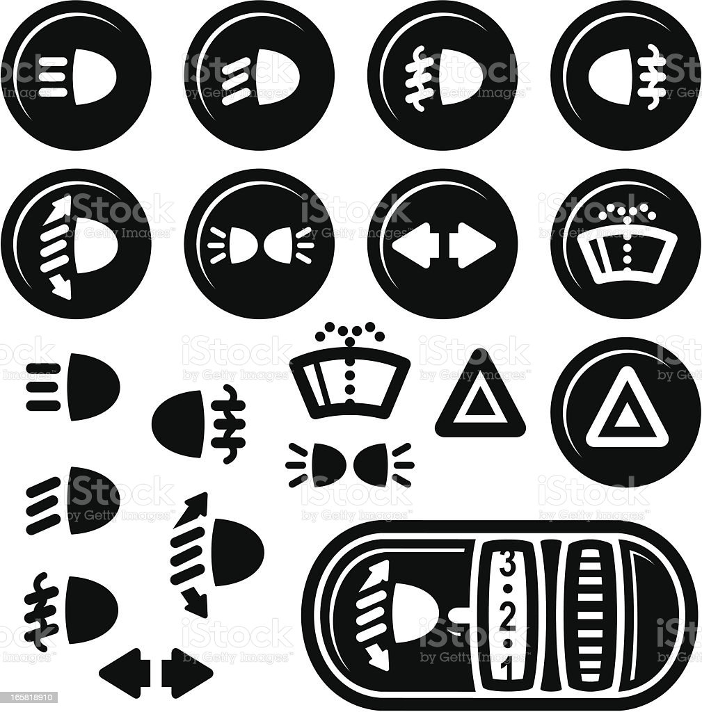 Car Dashboard Icons, Lights and Windshield Wash vector art illustration