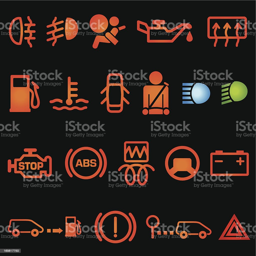 car dashboard icons stock vector art 165617750 istock. Black Bedroom Furniture Sets. Home Design Ideas